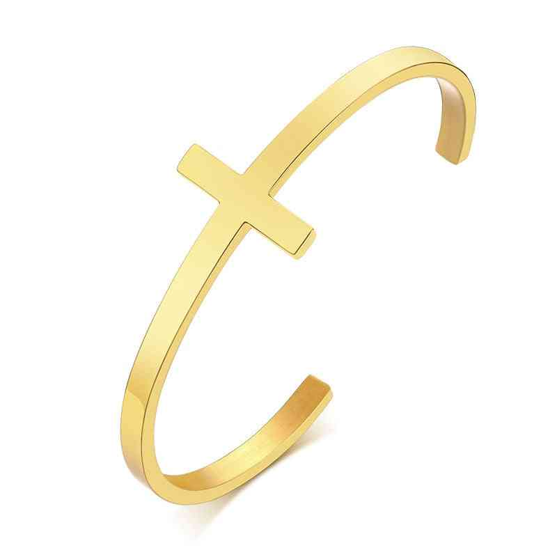 Cross Cuff Bracelet, Stainless Steel Open Cuff-bangle