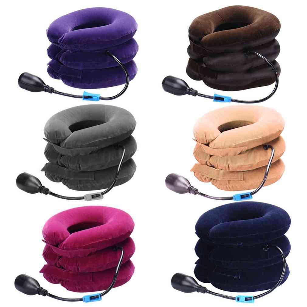 Inflatable Collar Neck Cervical, Vertebra Traction Soft Brace Massage, Relieve Headache, Head Back, Shoulder Pain Massager