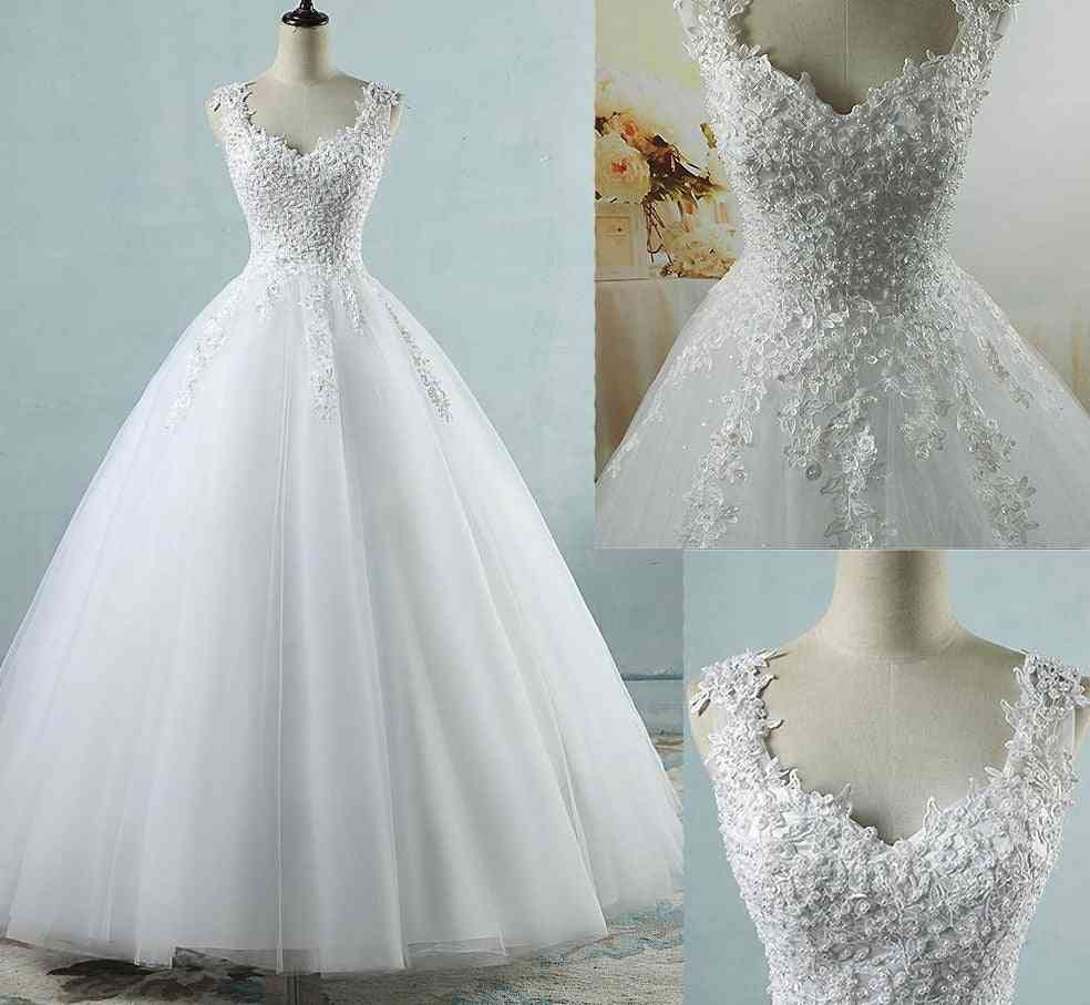 Ball Gowns Spaghetti Straps Tulle Dresses, Pearls Bridal Dress