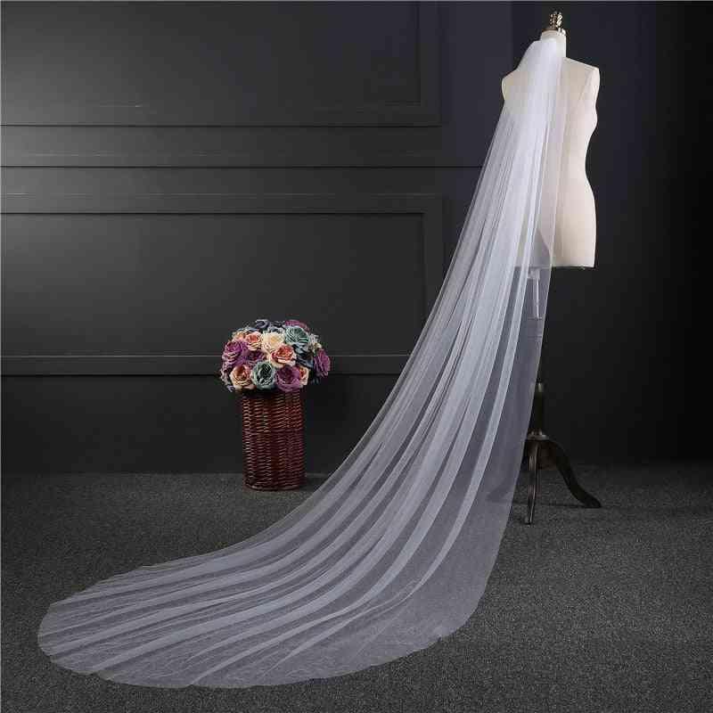 One-layer Long Bridal Head Veil