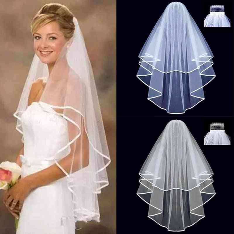 Short Tulle, Two-layer With Comb Bridal Veil