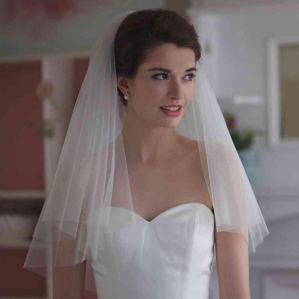 Two-layer Elegant, Short Bridal, Wedding Metal Comb Veils