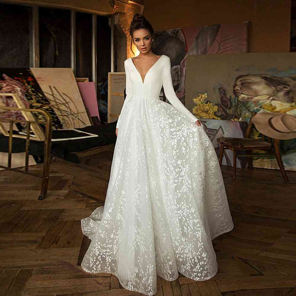 Booma Lace Satin Backless, Long Sleeve, V-neck, Bridal Gowns Dress