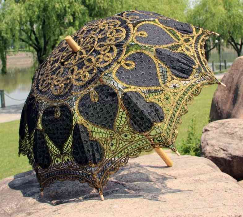 Metallic Thread, Battenburg Lace With Embrodiery Heart, Wedding Parasol Umbrella