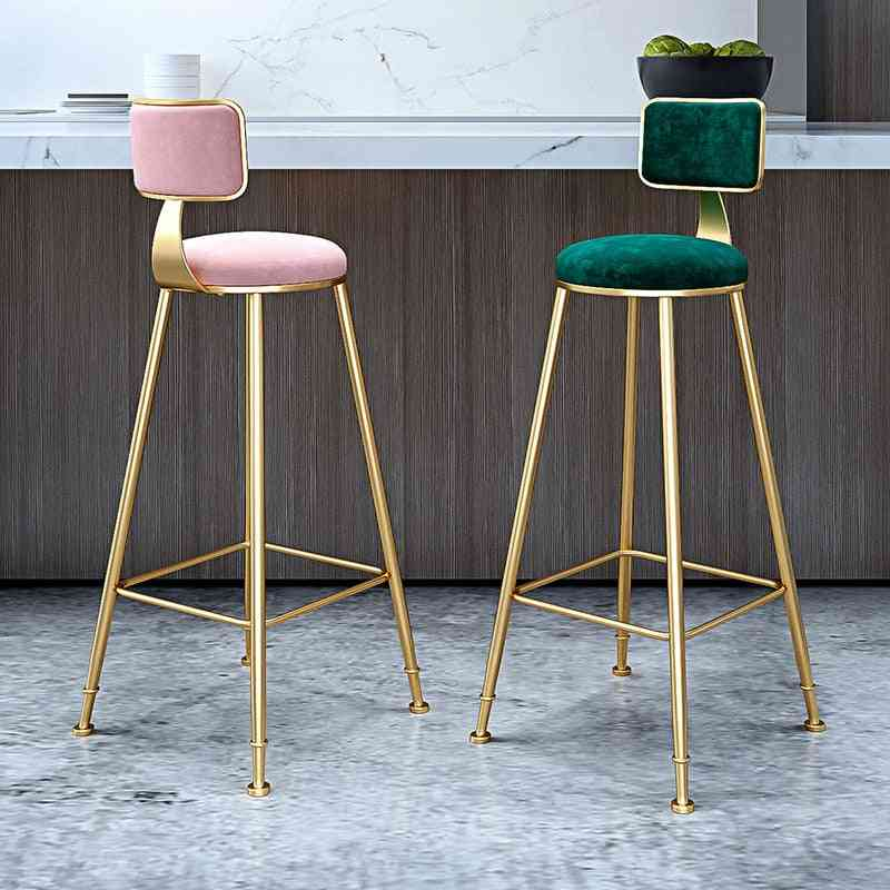 Nordic Bar Stool Wrought Iron Ins Creative Table Gold Lift Back Net High Chair Counter Stool For Home