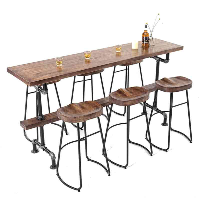 High Foot Table Nordic Solid Wood Against The Wall Simple Bar Chair Combination Balcony Personalized
