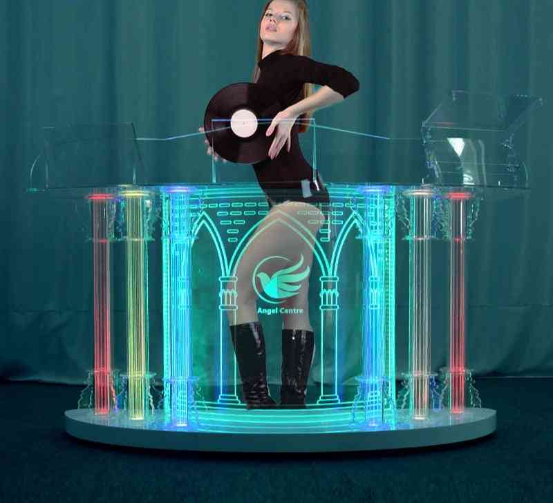 Acrylic Dj Table Led Colorful Movable Booth Equipment Lights Stand Desk Bass Speaker (180x60x90)