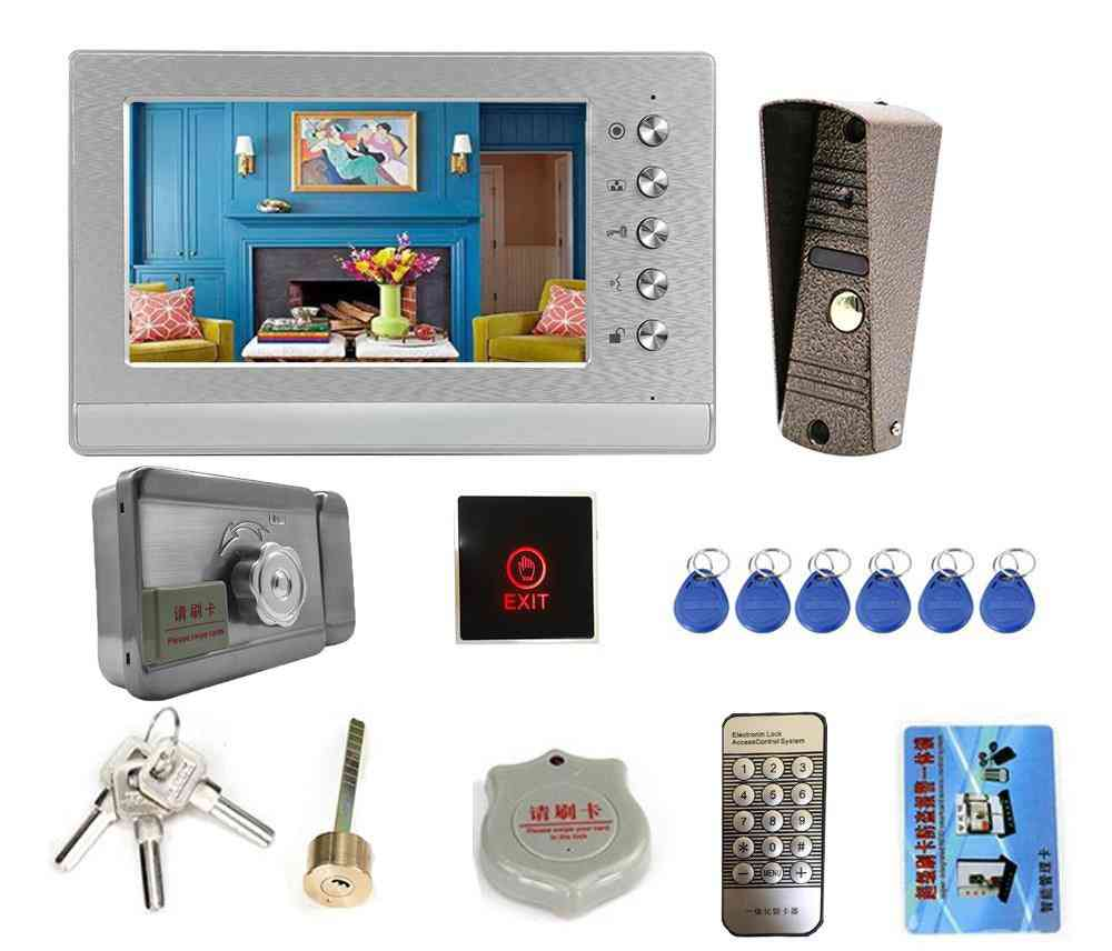 7 Inch Video Intercom With Lock, Doorbell Camera, Day, Night Vision, Waterproof