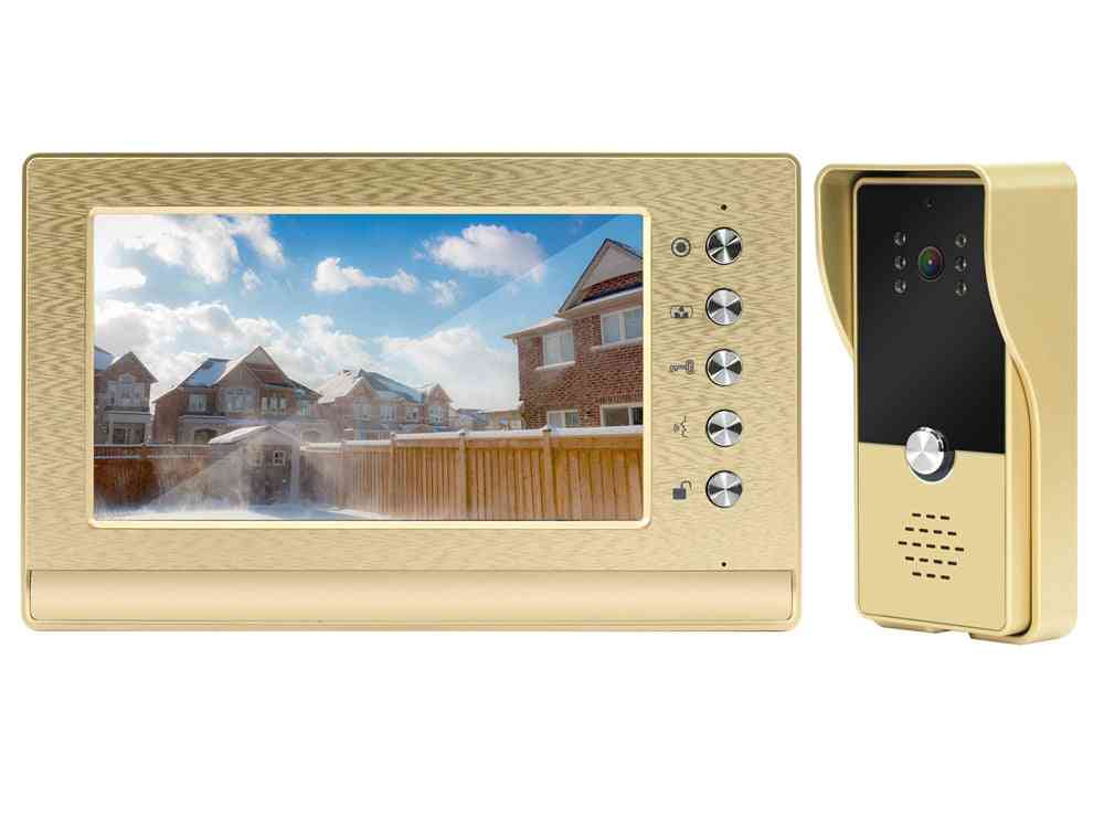 7 Inch Video Intercom System With Lock Wired Door Bell For Home