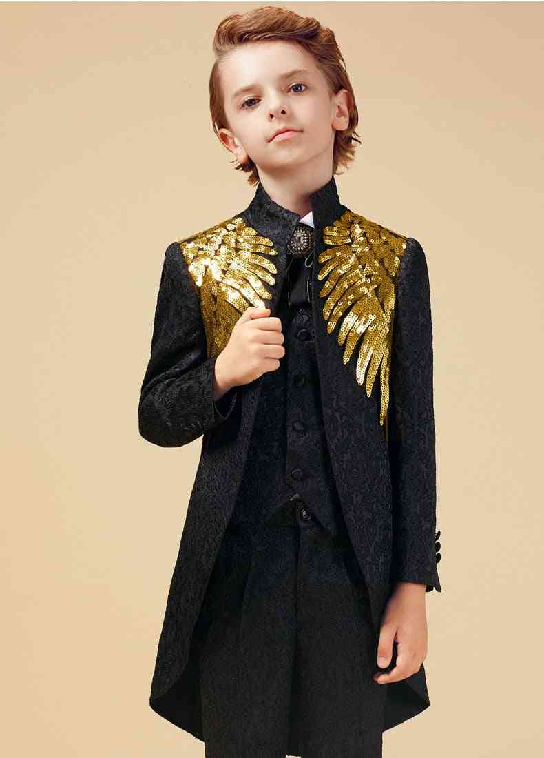Gold Sequins Suit For Boy, Weddings Costume Enfant Garcon Mariage Blazer