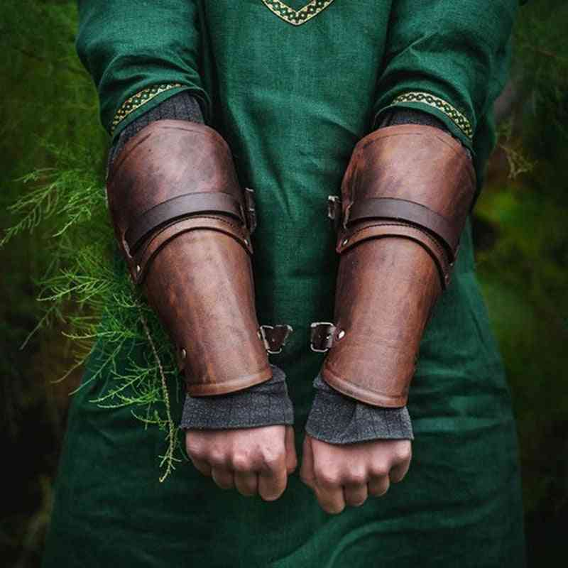 Faux Leather Wide Bracer, Lace Up Arm Armor, Cosplay Props