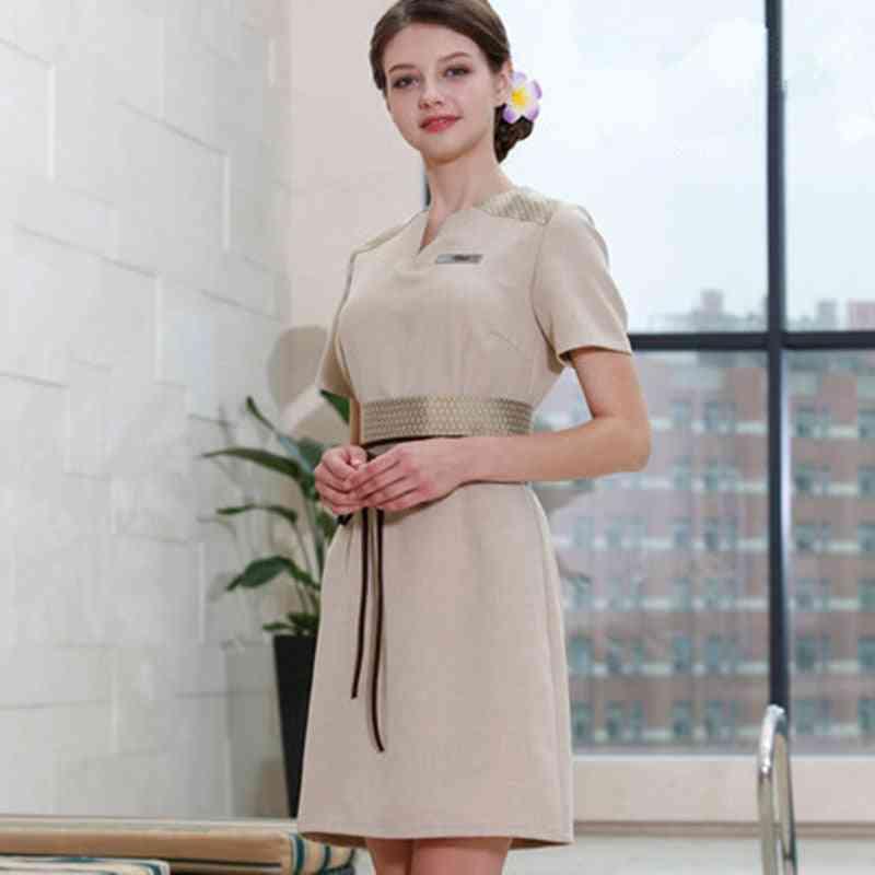 Design Spa Uniform Beauty Salon Short Sleeve Work Clothing Female Elegant Guide Workwear