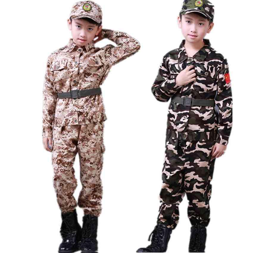 Military Clothing Kids Army Uniform School Training Camouflage Long Sleeve Coat Pants Hat Belt Sets