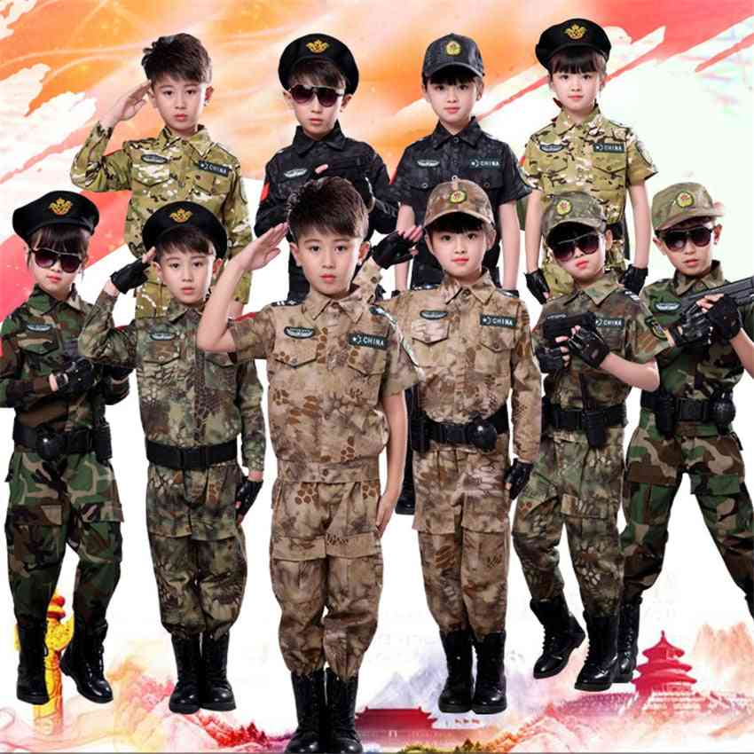 Children Military Combat Tactical Costumes Acu Camouflage Short Long Army Suit For Student