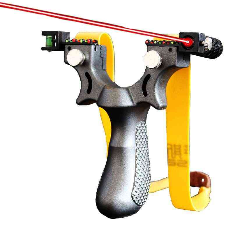 Laser Aiming, Resin Slingshot Catapult With Flat Rubber Band For Outdoor Hunting
