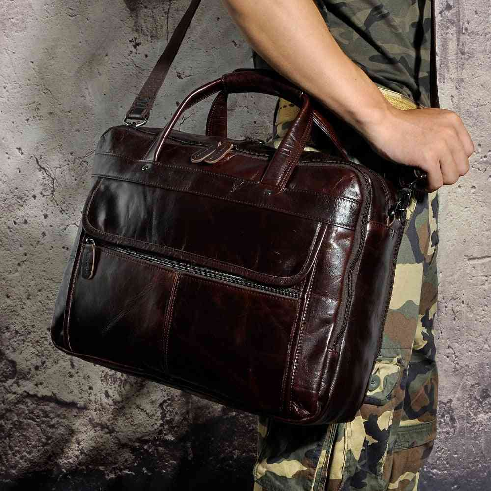 Men Oil Waxy Leather Briefcase Laptop Document Fashion Bag