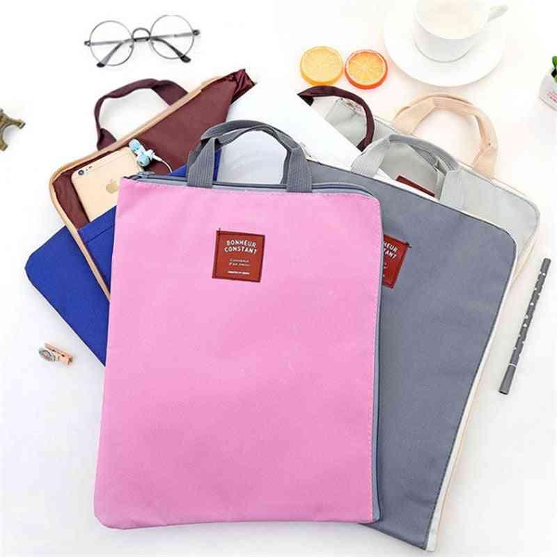 Oxford Cloth Multi-fonction Zipper Briefcase, Portable, Student File Bag, Women, Men, Work Business Handbag, Pouch