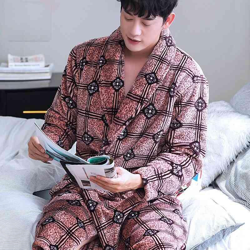Coral Fleece Robe, Autumn Winter Flannel Warm Sleepwear's