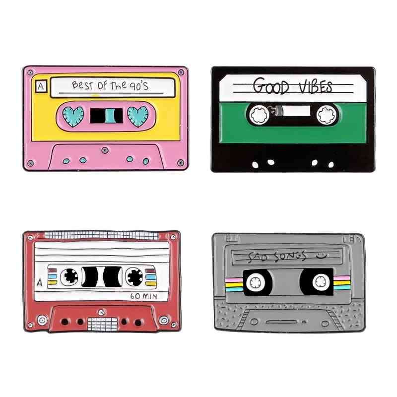 90's Music Tape Enamel Pin Vintage Nostalgic Best Song Brooches For Bag Clothes Lapel Pin Old-school Badge