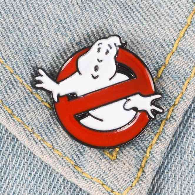 White Ghost Badge Brooch Bag Clothes Lapel Pin