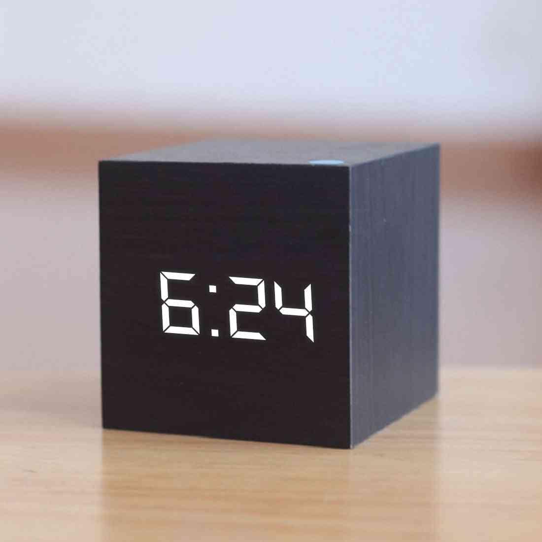 Digital Wooden Led Alarm Clock Retro Glow Clock Desktop Table Decor