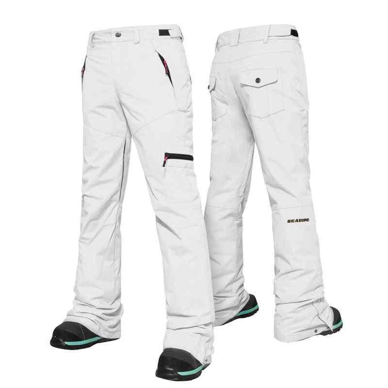 Women Warm Ski Pants, Windproof, Waterproof, Double Snow Protection Leg, Opening Thick Winter Trouser