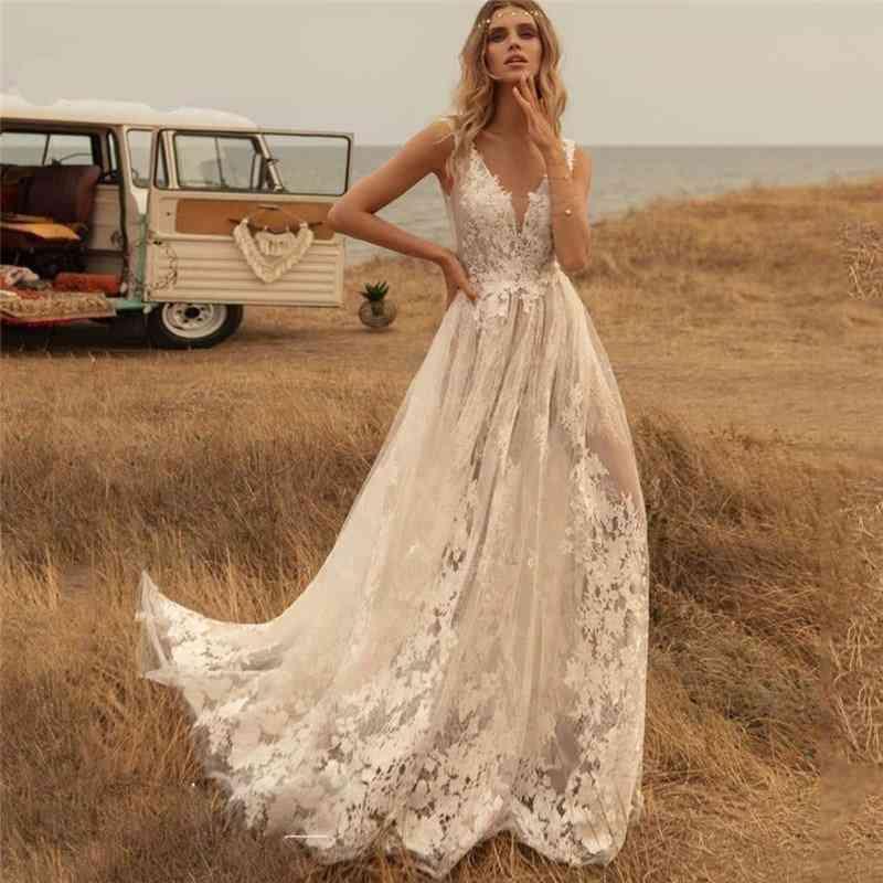 Deep V-neck, Boho Wedding Dress