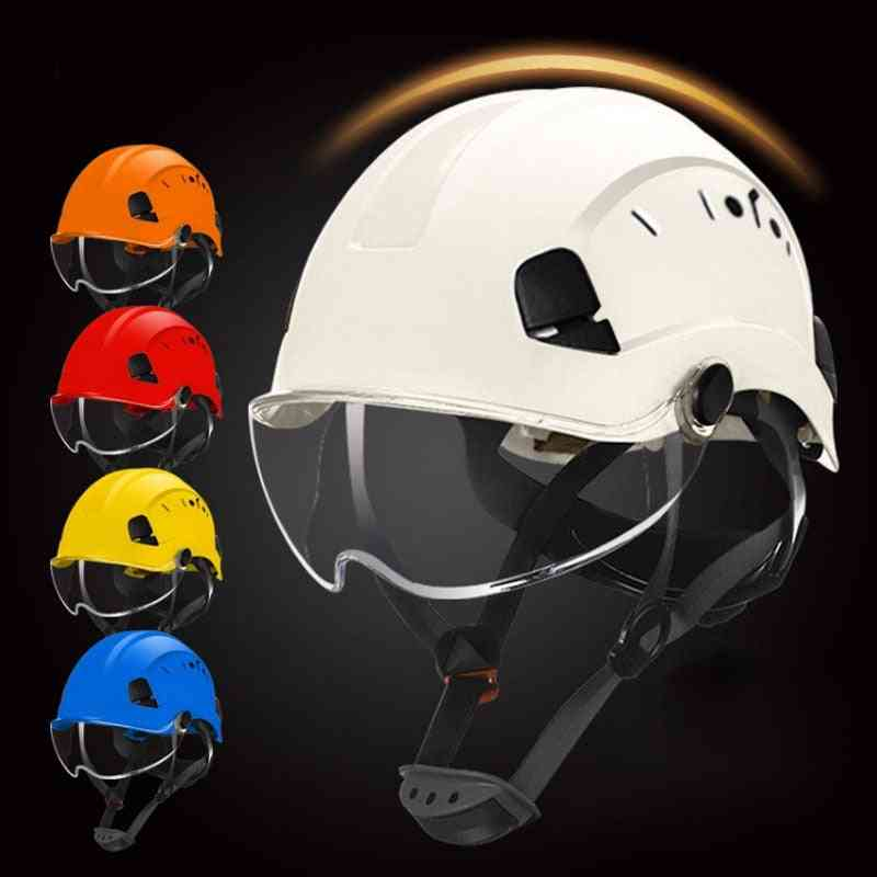 Safety Helmet With Goggles Construction Hat Abs Protective Work Cap