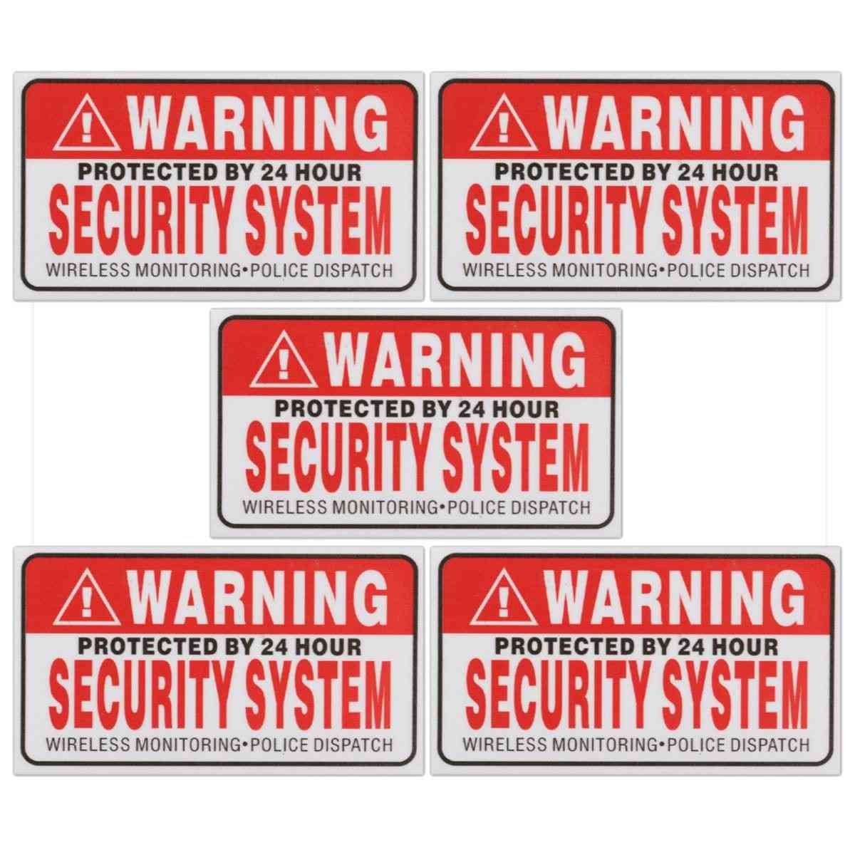5x Protected By 24 Hour Security System Self-adhesive Stickers