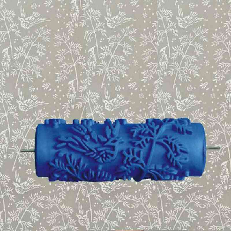 5-inch Blue Rubber Roller Wall Decoration Painting Roller Without Hand Grip