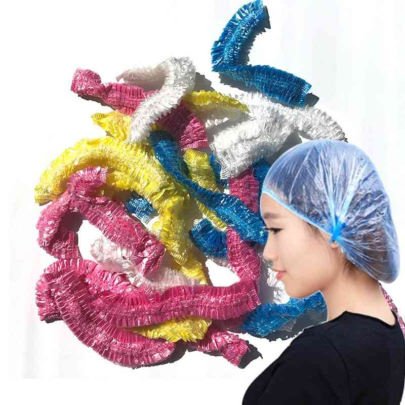 Disposable Shower Cap Plastic, Waterproof, Transparent Color, Hat, Hotel For Travel, One Time Bathroom Products