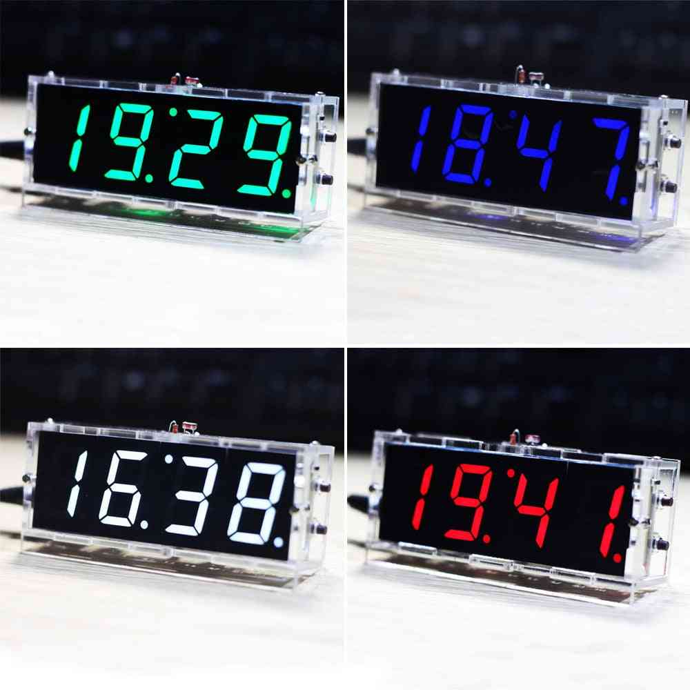 Stylish Diy Digital Led Clock Kit Light Control Temperature Date Time Display With Transparent Case