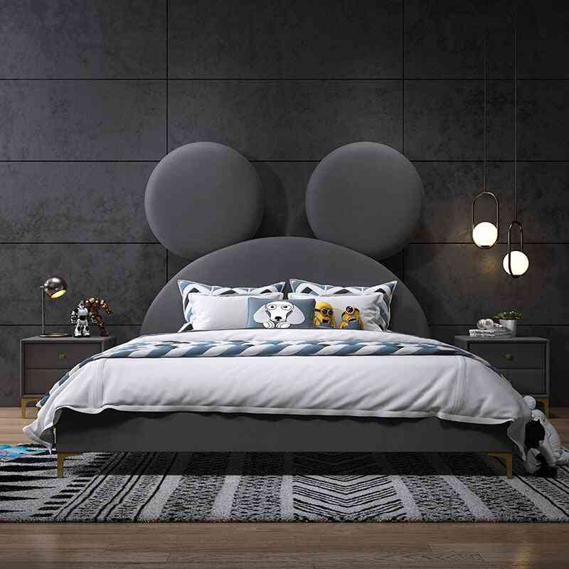 Children's Bed Nordic Fabric Double Bed 1.8 M 1.5 Net Red Mickey Cartoon Bedroom Big Bed