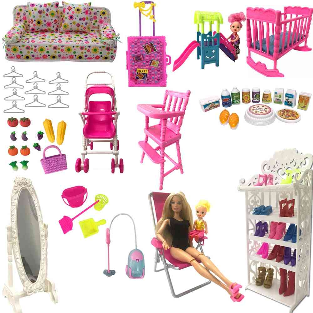 Nk Mix Style Doll Furniture Play Toy Chair Shoe Rack Mirror Slide For Barbie Doll Accessories Kelly