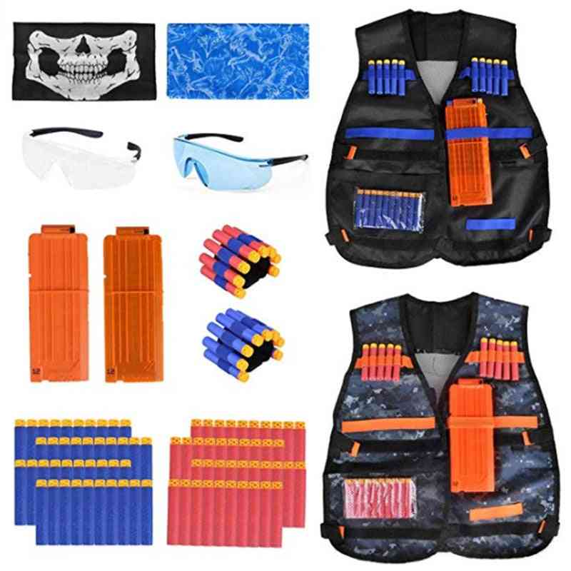 Kids Tactical Vest Kit For Nerf Guns, N-strike, Elite Series With Refill Darts, Pouch, Reload Clip, Tactical Mask Wrist Band