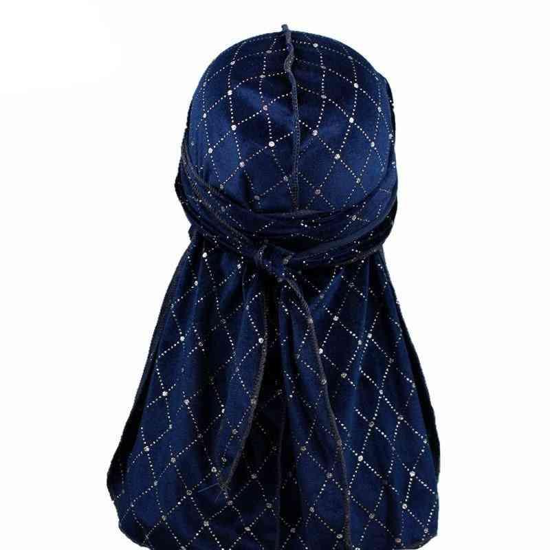 Premium Men's Shiny Velvet Durags Turban Hat Bandanas Headwear Men Striped Durag Waves Caps Hair Accessories Pirate Hat Rag