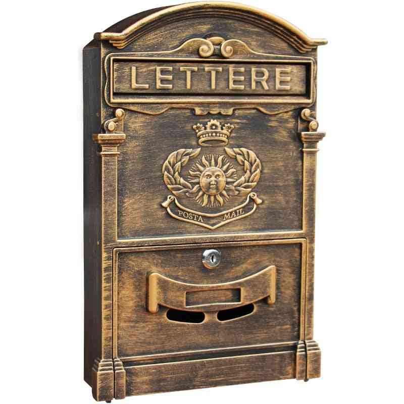 Heavy Aluminium Lockable Secure Mail Letter Post Box Garden Ornament Hw007