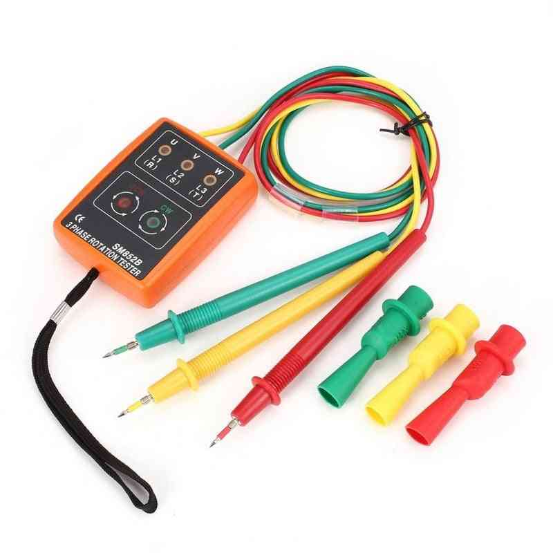 Sm852b 3 Rotation, Digital Phase Indicator Detector, Voltage Tester Meter