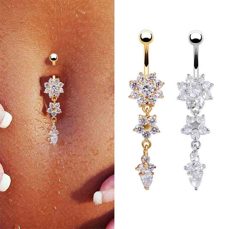 Piercing Navel Nail & Body Jewelry Flower Pendant Crystal Belly Button Rings