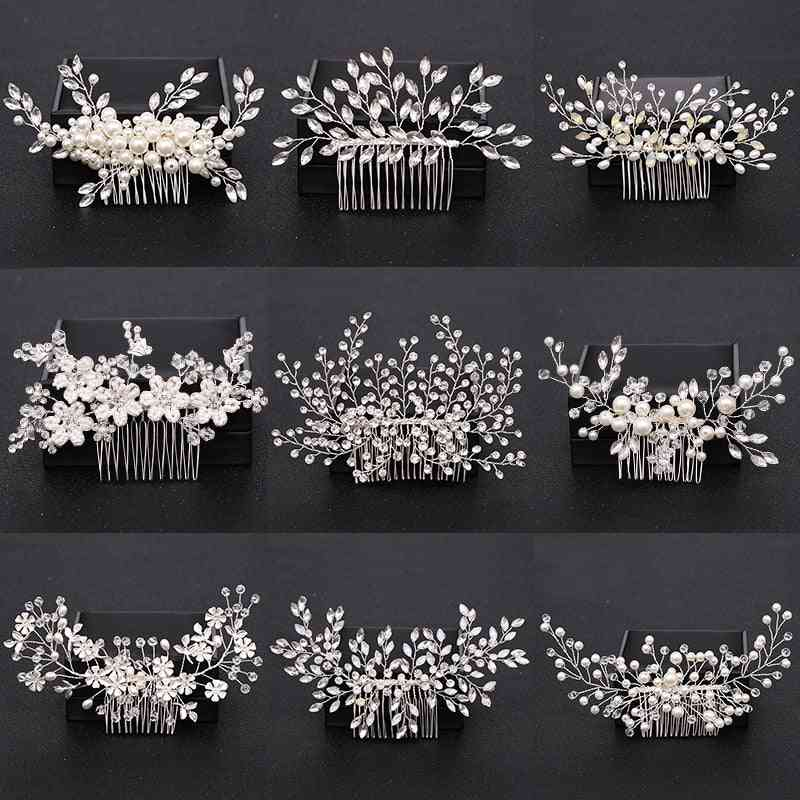 Pearl Crystal Wedding Hair Combs Accessories For Bridal Flower Headpiece Women Ornaments Jewelry