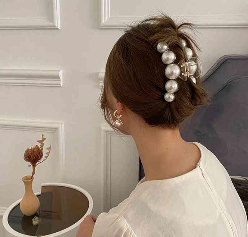 New Hyperbole Big Pearls Acrylic Hair Claw Clips Big Size Makeup Styling Barrettes