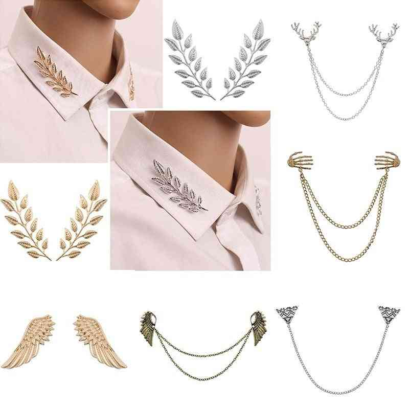 Delicate Tree Leaf Brooches Pins & Men Vintage Elk Wings Palm Crystal Jean Shirts Suits