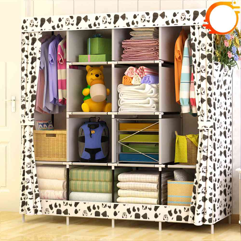 Large Size Modern Simple Wardrobe Fabric Folding Cloth Storage Cabinet, Easy Install Reinforcement