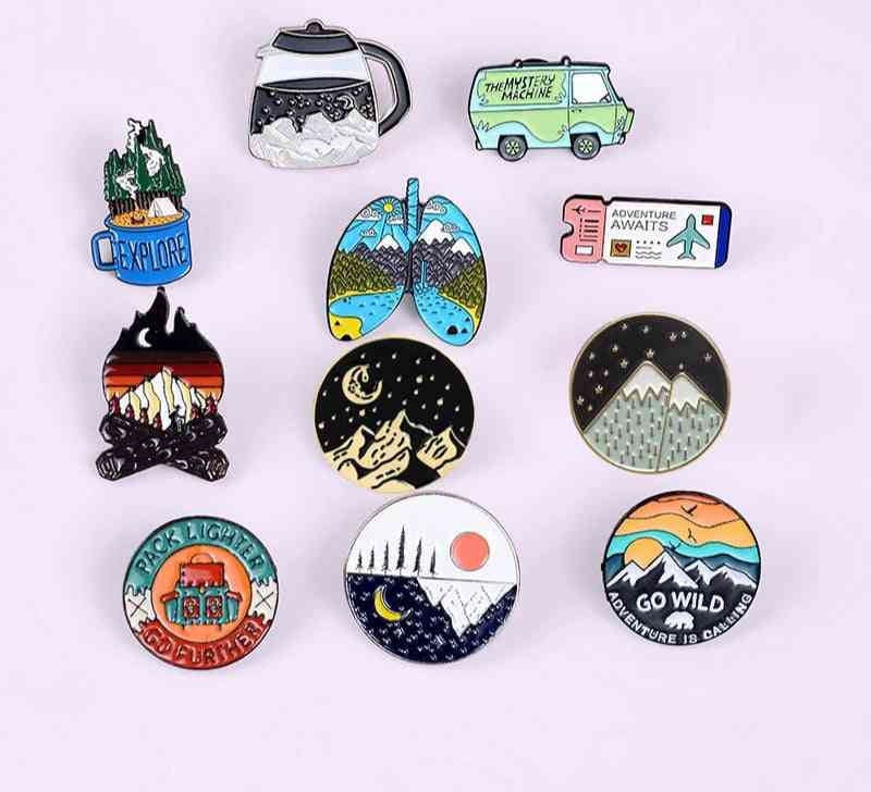 Outdoors Adventure Enamel Pins, Nature Badges