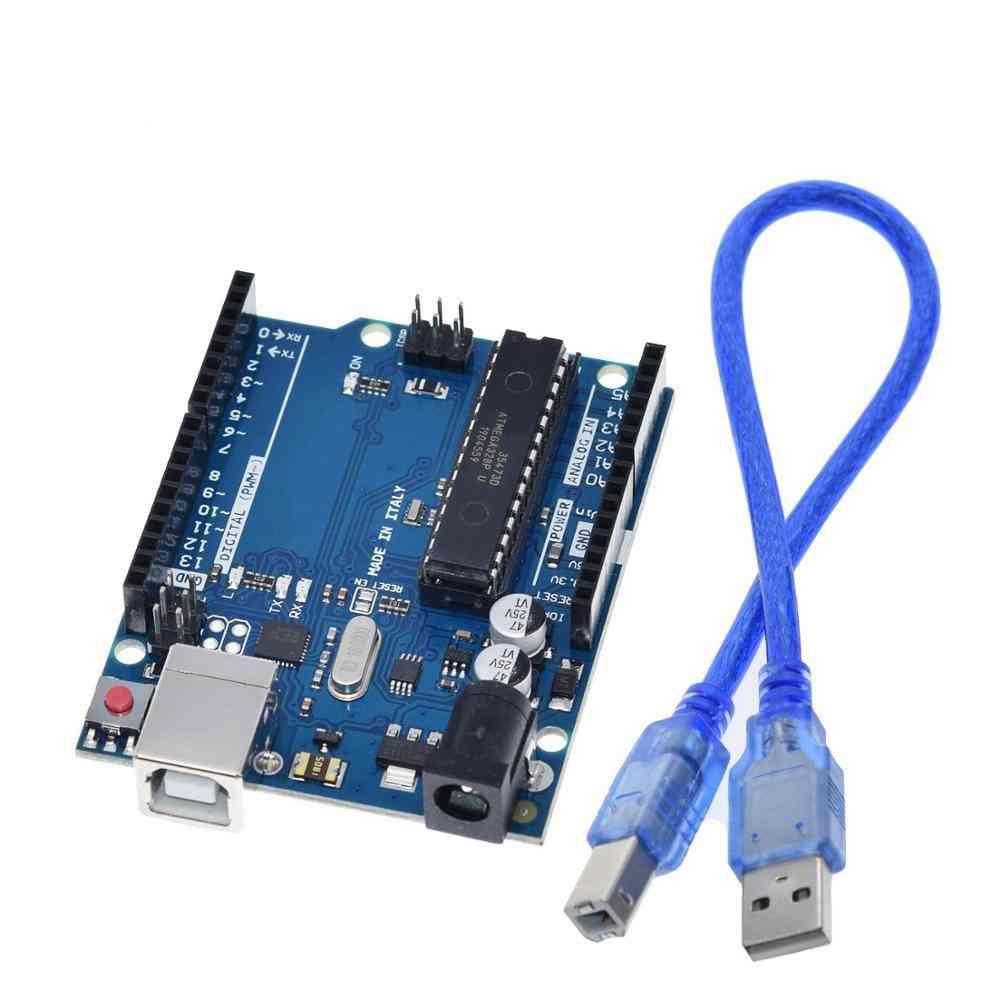 Uno R3 Box, Atmega16u2 & Mega328p Chip For Arduino Development Board + Usb Cable