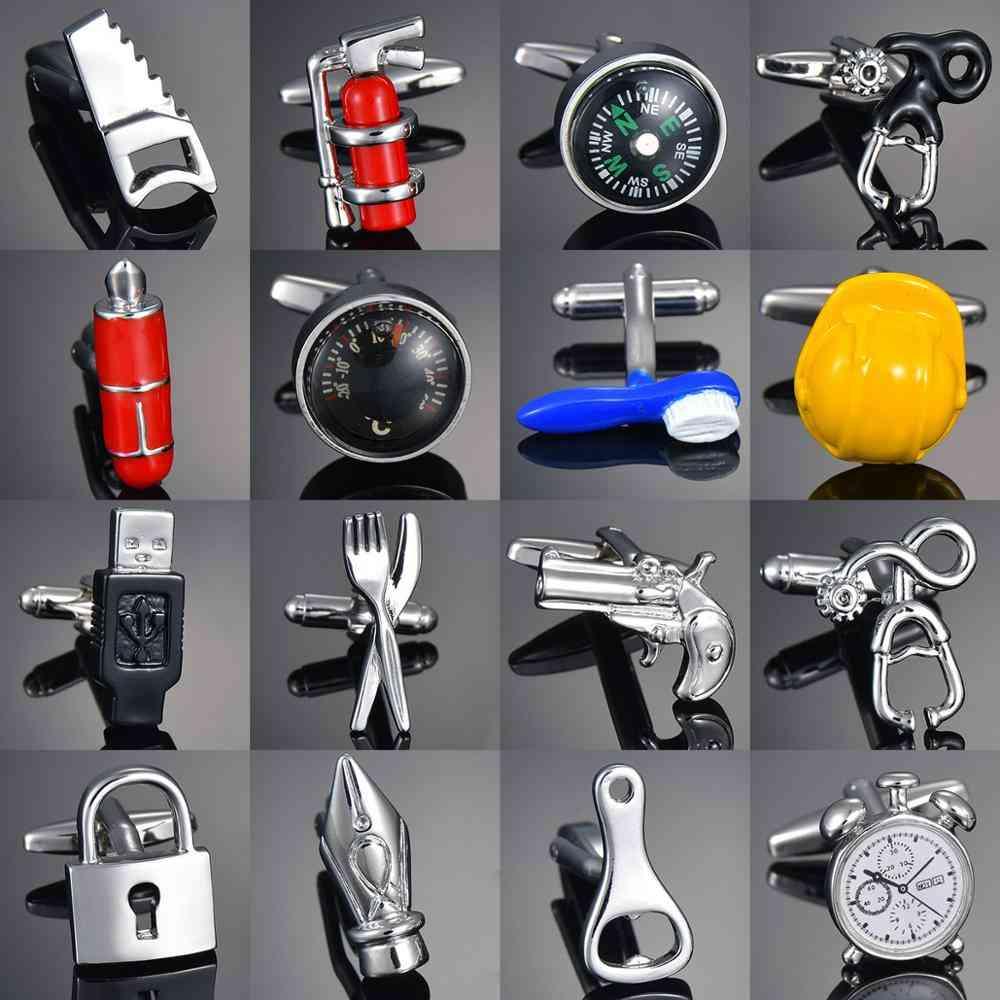 New Luxury Cufflinks High-grade Safety Extinguisher Hammer Alarm Clock Cuff-links