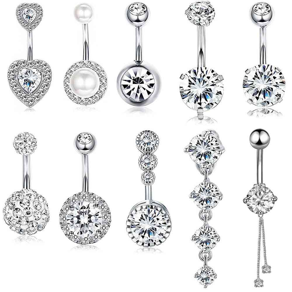 Double Round, Cubic Zirconia, Surgical Steel Piercing, Navel Belly, Button Ring