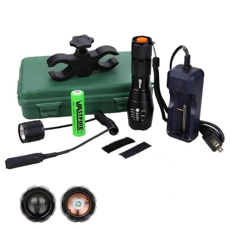 Hunting Light 5000 Lumens Tactical Adjustable Focus Torch+hunting Mount Set