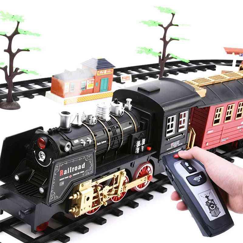 Electric Train Set, Rc Railway Remote Control Rail Car Steam's Toy