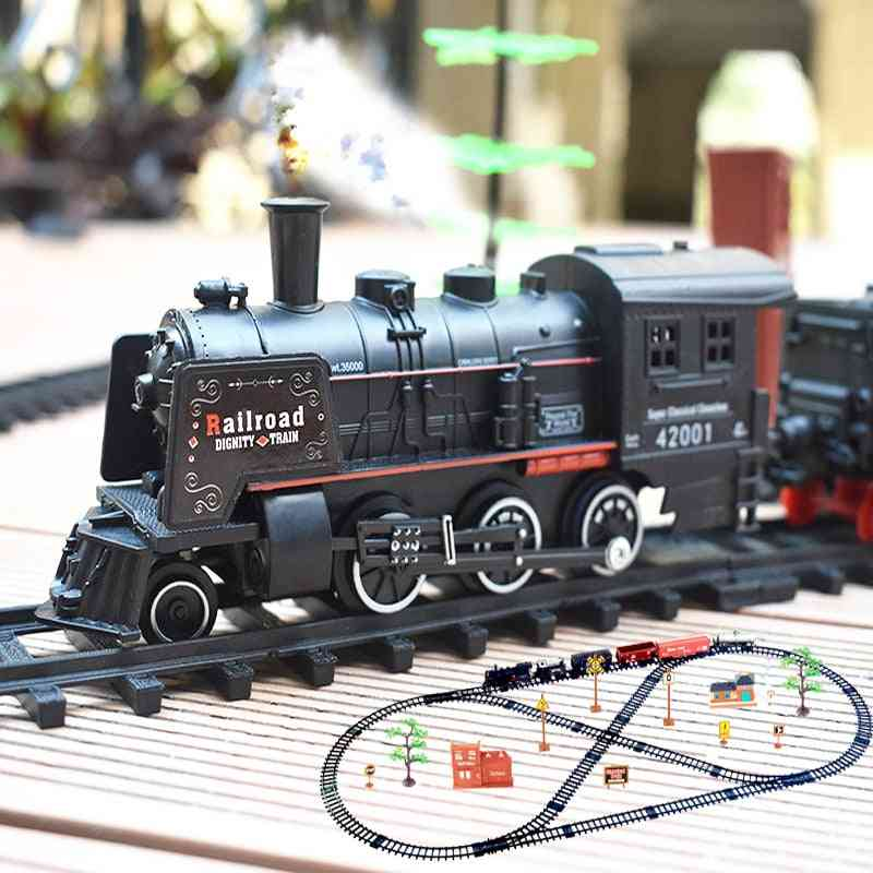 Electric Train Set Rc Railway Remote Control Rail Cars Steam's Toy